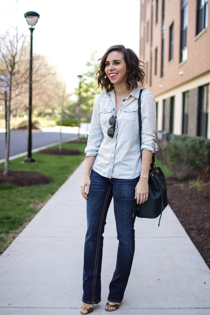 aviza style. a viza style. andrea viza. fashion blogger. dc blogger. spring style. outfit. denim on denim. chambray. bootleg jeans style. bucket bag. 2