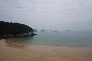 An empty beach near Cat Ba town