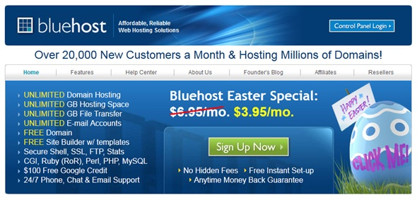 BlueHost Easter Promo
