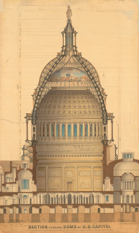 a technical drawing of the Capitol Dome and its interior