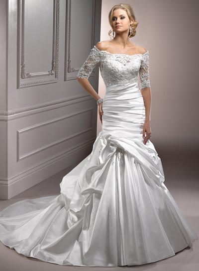 lace off shoulder mermaid wedding dress