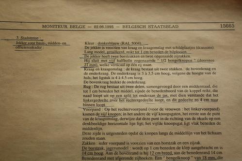 stadstenue officierenkader rijkswacht 1995 belgisch staatsblad