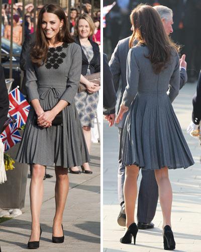 Kate-Middletons-2012-Catherine-Duchess-Cambridge-Grey-Knee-length-Orla-Kiely-Dress