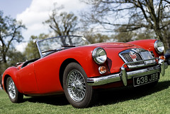 race car, automobile, vehicle, mg mga, antique car, classic car, vintage car, land vehicle, convertible, sports car,