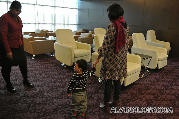Asher exploring the lounge with mummy
