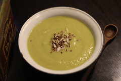 vegetable(0.0), cream of mushroom soup(0.0), produce(0.0), cucurbita(0.0), bisque(1.0), food(1.0), leek soup(1.0), dish(1.0), soup(1.0), cuisine(1.0),