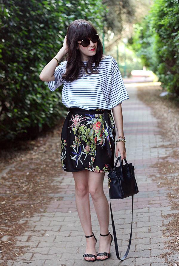 celine bag, zara wrap skirt, topshop striped shirt, sunglasses, sandals, בלוג אופנה, אפונה בלוג אופנה, חולצת פסים, חצאית מעטפת, תיק סלין