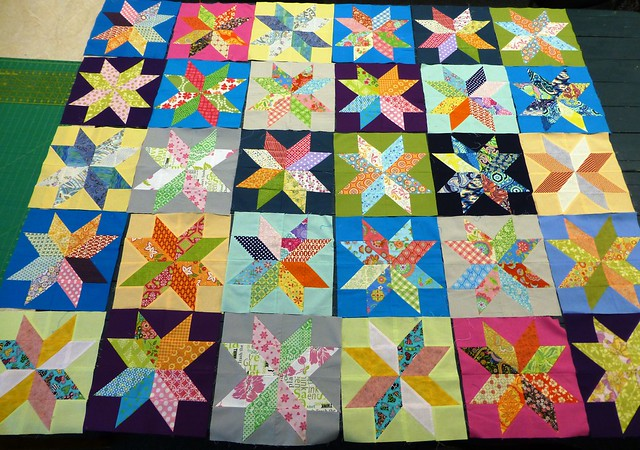 Bee Blessed Starflower quilt layout