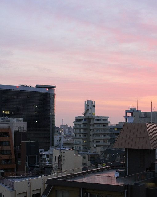 4:15am in the morning. Tokyo sky is already warm pink