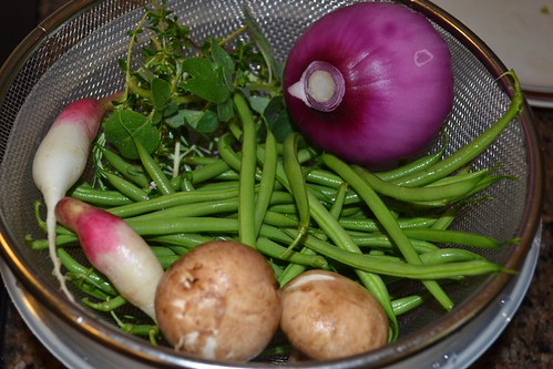 Fresh haricot verts, French breakfast radishes, mushrooms, red onion and herbs