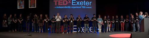 The TEDxExeter team on stage at the end of TEDxExeter 2013