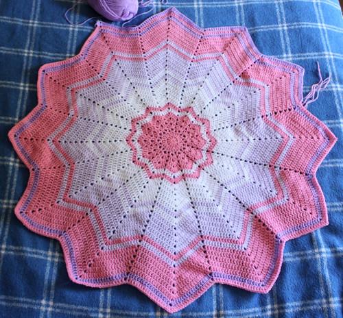Rainbow ripple crochet blanket WIP by Helen in Wales