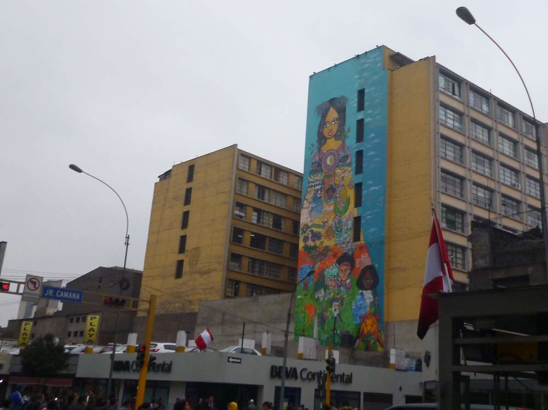 Pretty full-wall mural in Lima