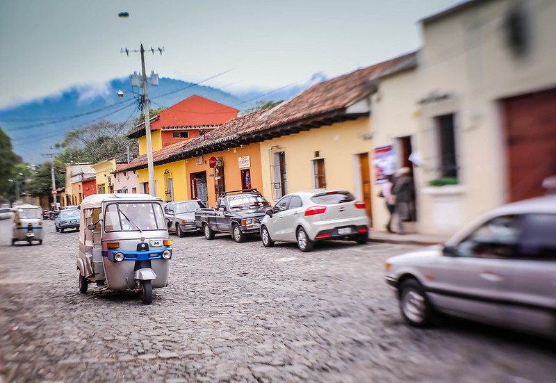 Antigua Guatemala Tuk Tuk and Buildings