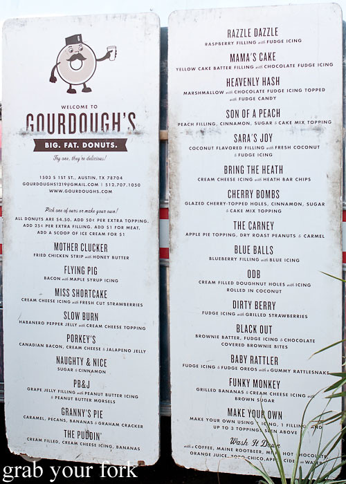 donut menu at gourdough's big fat donuts food truck austin texas