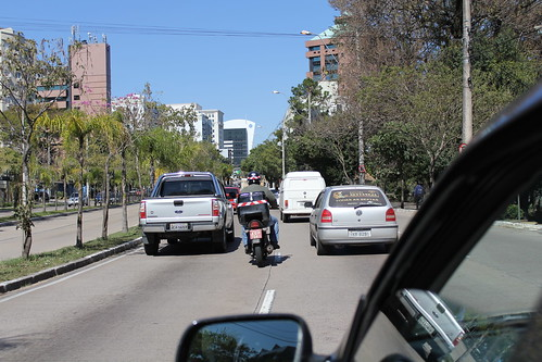 motorcycle cutting traffic in Brazil