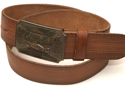 RRL / Hudson Leather Plaque Belt