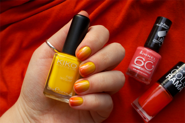 04 gradient nails kiko 279 yellow + rimmel instyle coral + colorama 155