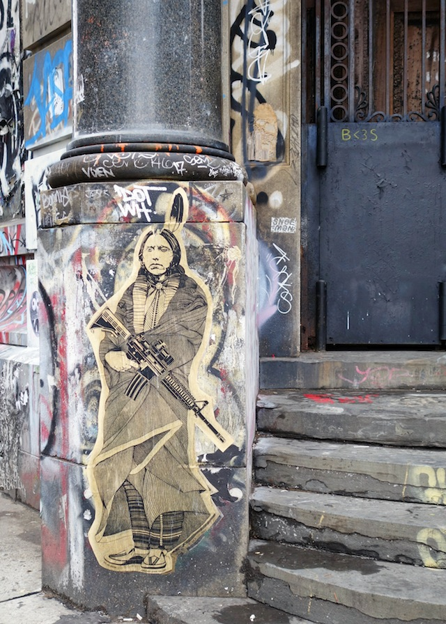New York street art Lower East Side Indian chief