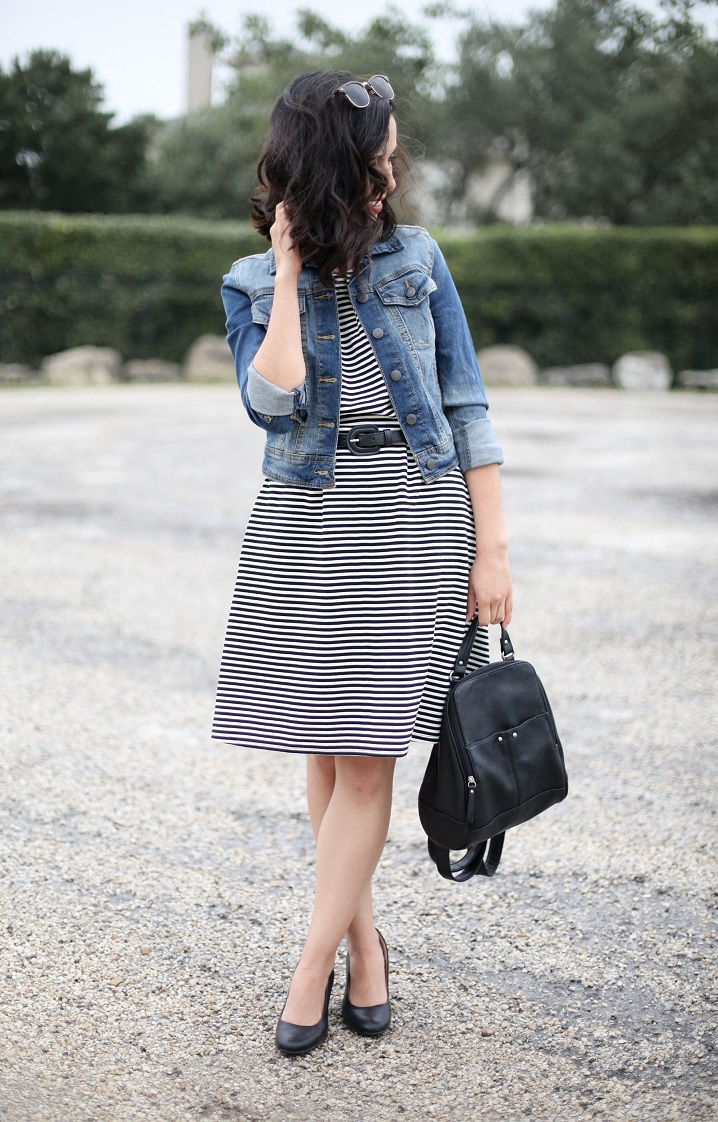 target striped dress, denim jacket, austin style blogger
