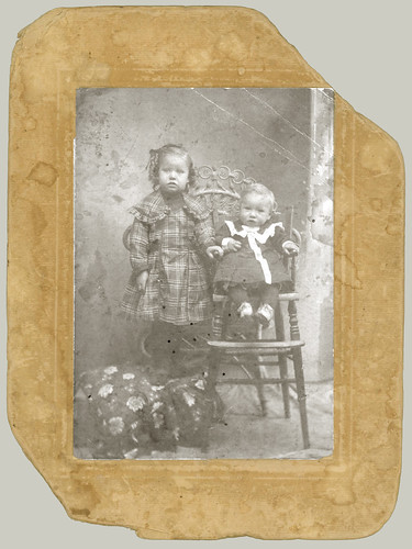Card mounted portrait of two children