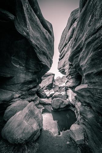 england blackandwhite bw monochrome rock landscape rocks yorkshire millstone nationaltrust northyorkshire brimhamrocks yorkshiredales millstonegrit splittoned nikond800