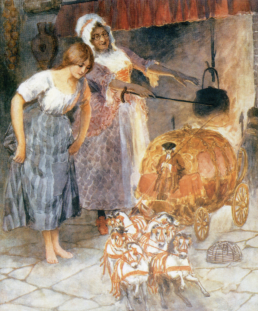 Cinderella and the Fairy Godmother by William Henry Margetson (1861 - 1940)