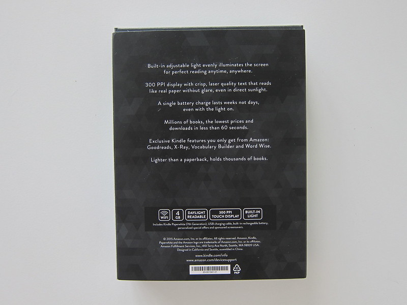 Kindle Paperwhite E-reader (2016) - Box Back