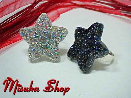 Anillo Resina Estrellas Multicolores