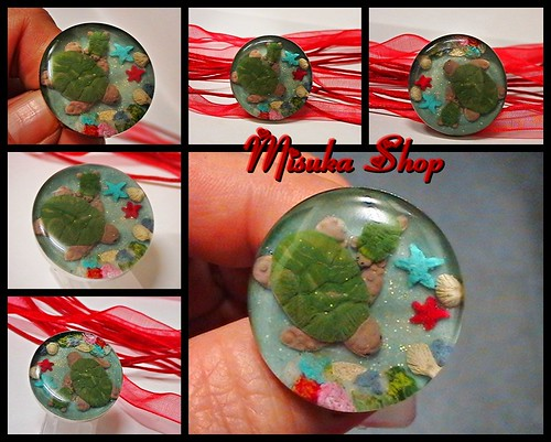 Anillo Resina y fimo Sea Turtle