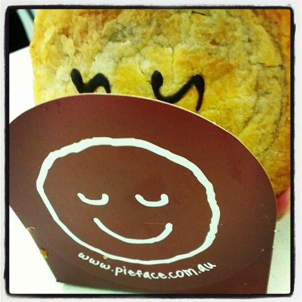 Pie Face's steak and mushroom pie at Sydney Airport