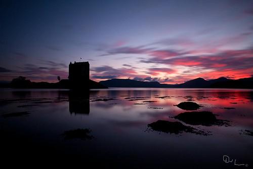 sunset red sea summer sky mountains castle night dark scotland highlands argyll loch gloaming appin