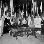 Washington, D.C. representatives of 26 united nations at flag day ceremonies in the White House,  U.S.A., July 1942