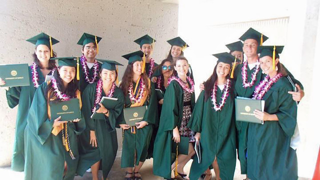 <p>Global environmental science students at the University of Hawaii at Manoa's commencement ceremony. May 11, 2013</p>