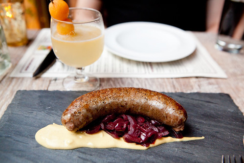 Python sausage, pickled red, mustard