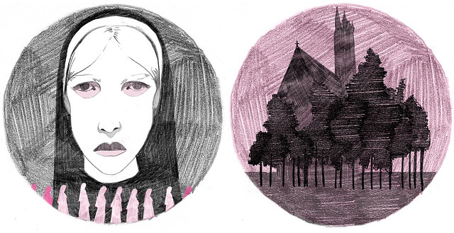 sketches of nuns and a church in silhouette