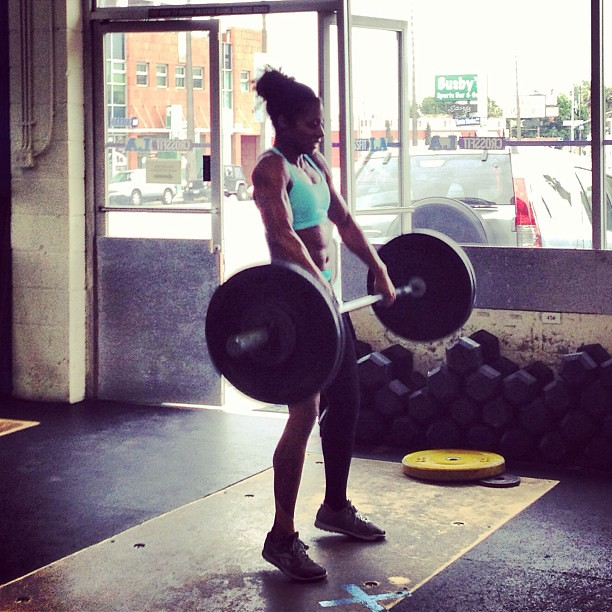 Deb's flow on squat cleans. #LookingGood! #crossfit #crossfitgames