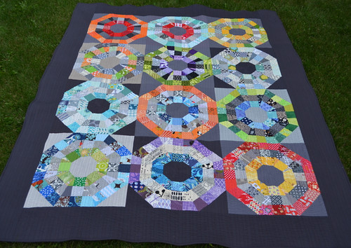 Octagonal Orb Quilt - before the wash
