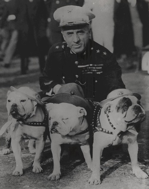 Smedley Butler with Bulldogs, 1930 from Flickr via Wylio