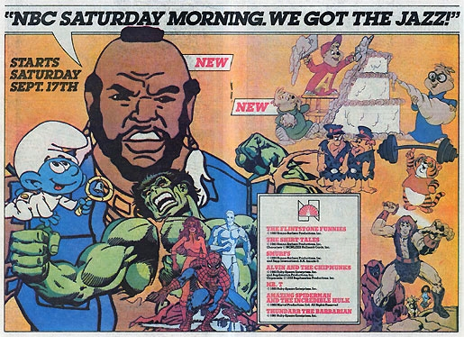 nbc saturday morning cartoon 1983 Mr T Smrufs Thundarr Spider-Man Flintstones Alvin Chipmunks Shirt Tales