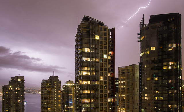 Lightning over Coal Harbour, Vancouver