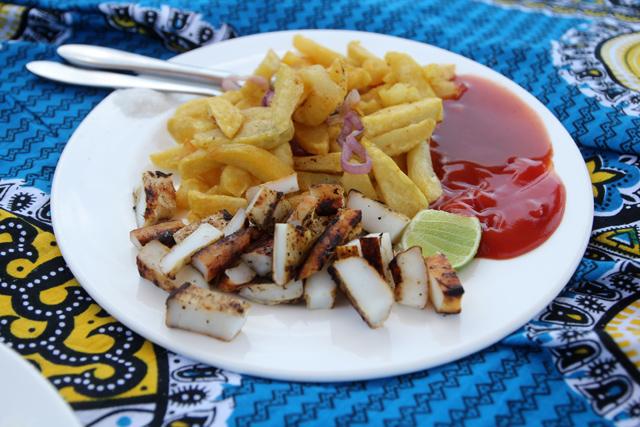 Calamari and chips was good