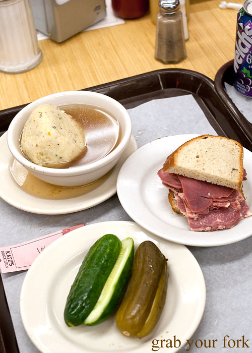 tongue sandwich with matzo ball soup at katz's deli nyc new york usa jewish food lower east side les