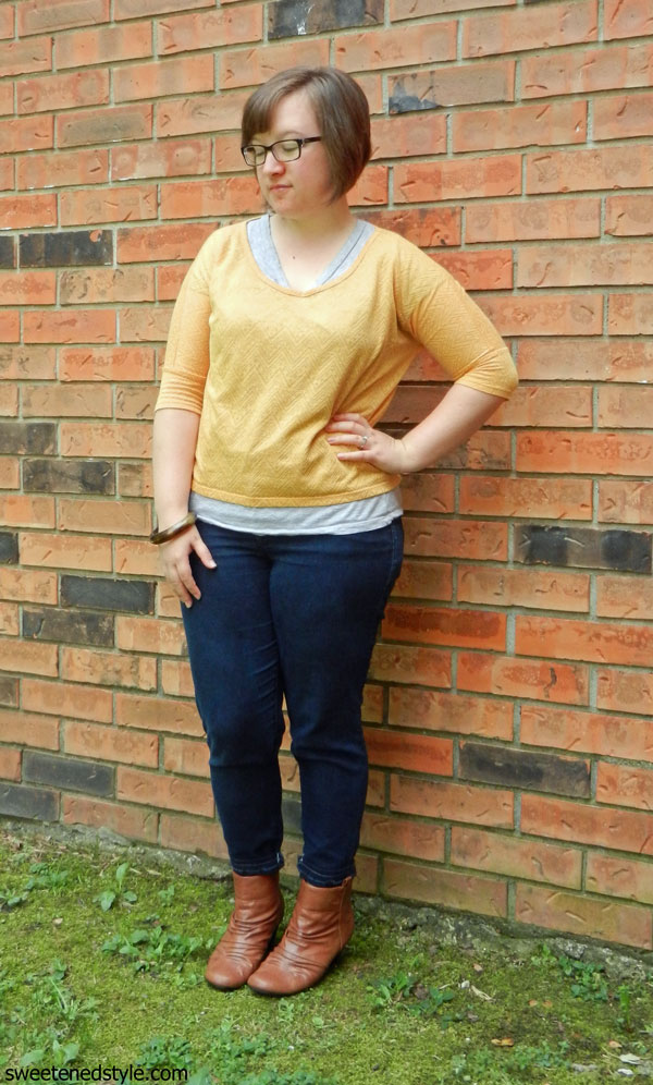 yellow top, skinnies, booties