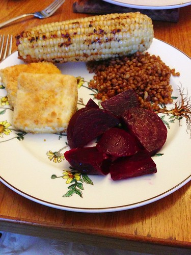 Baked Halibut, Wheatberries, Beets, and Grilled Corn via MealMakeoverMoms.com/kitchen