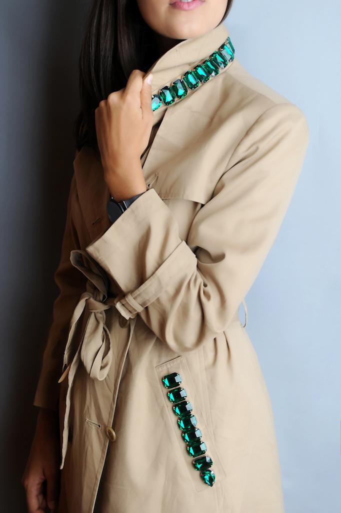 DIY Burberry Inspired Jewelled Trench