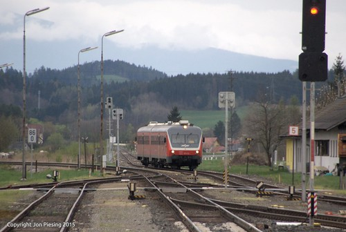 Slovenian DMU arriving at Bleiburg in Austria