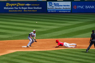 Grichuck Slides into Second on a Wild Pitch