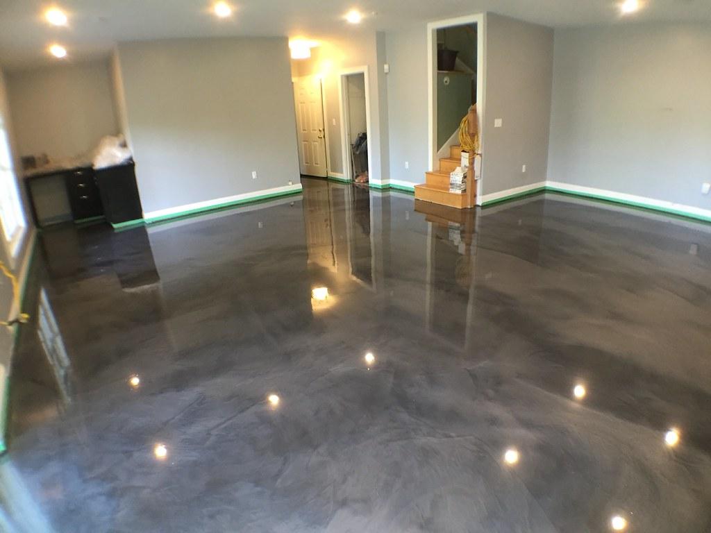 metallic epoxy urethane basement floor in lynchburg va