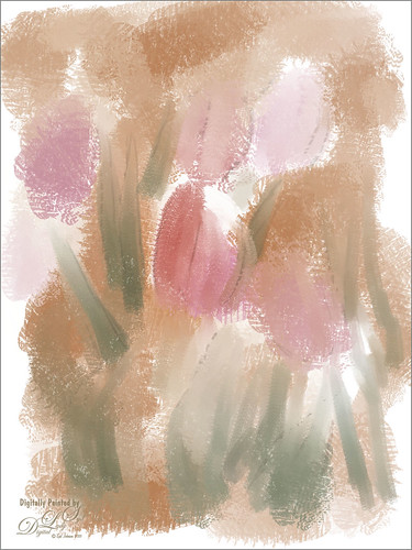 Abstract Painting of Pink Tulips